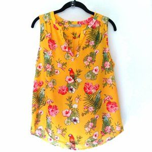 Dalia Yellow Sleeveless Top Tropical Floral Print